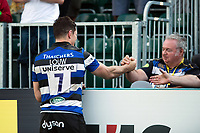 Francois Louw of Bath Rugby with a supporter in the crowd. Aviva Premiership match, between Bath Rugby and London Irish on May 5, 2018 at the Recreation Ground in Bath, England. Photo by: Patrick Khachfe / Onside Images