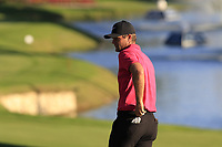 Lucas Bjerregaard (DEN) on the 18th green during Thursday's Round 1 of the 2018 Turkish Airlines Open hosted by Regnum Carya Golf &amp; Spa Resort, Antalya, Turkey. 1st November 2018.<br /> Picture: Eoin Clarke | Golffile<br /> <br /> <br /> All photos usage must carry mandatory copyright credit (&copy; Golffile | Eoin Clarke)