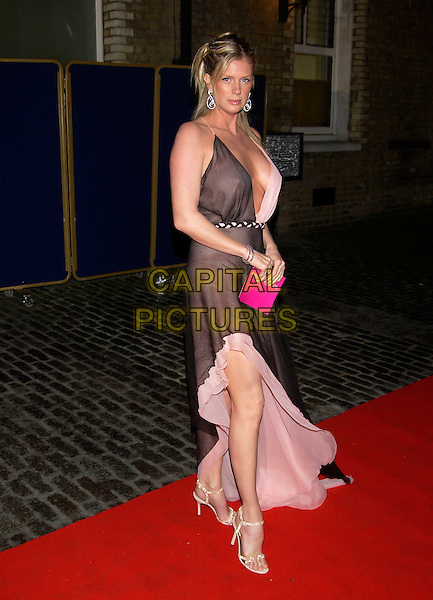 "RACHEL HUNTER.Arrivals at Live Grand Final of ""Make Me a Supermodel"" .The Brewery, Chiswell Street,.London 4 April 2005..full length brown pink floaty chiffon silk dress spilt leg slit low cut plunging neckline .Ref: PL.www.capitalpictures.com.sales@capitalpictures.com.©Capital Pictures"