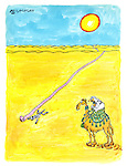 (Desert scene with an Arab riding a camel encountering an unwound toilet paper roll and the skeleton of the Andrex puppy)