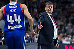 Anadolu Efes Krunoslav Simon and coach Ergin Ataman during Turkish Airlines Euroleague match between Real Madrid and Anadolu Efes at Wizink Center in Madrid, Spain. January 25, 2018. (ALTERPHOTOS/Borja B.Hojas)