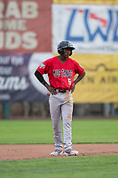 Billings Mustangs left fielder Zeek White (6) stands on second base during a Pioneer League game against the Ogden Raptors at Lindquist Field on August 17, 2018 in Ogden, Utah. The Billings Mustangs defeated the Ogden Raptors by a score of 6-3. (Zachary Lucy/Four Seam Images)