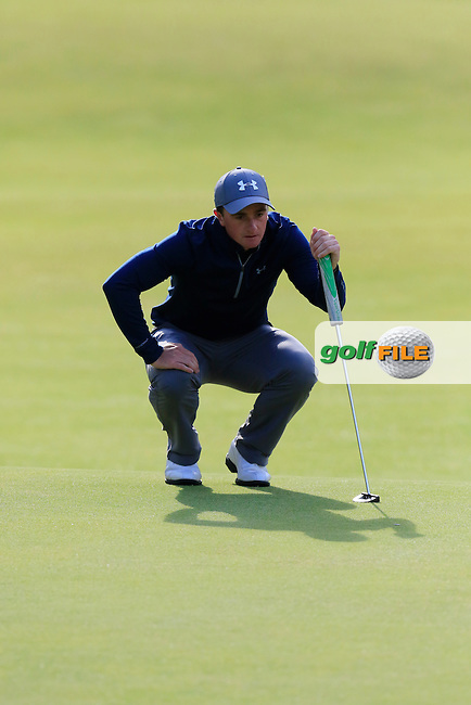Paul DUNNE (AM)(IRL) lines up his putt on the 18th green during Sunday's Round 3 of the 144th Open Championship, St Andrews Old Course, St Andrews, Fife, Scotland. 19/07/2015.<br /> Picture Eoin Clarke, www.golffile.ie