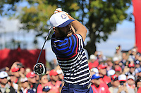 Dustin Johnson US Team tees off the 11th tee during Thursday's Practice Day of the 41st RyderCup held at Hazeltine National Golf Club, Chaska, Minnesota, USA. 29th September 2016.<br /> Picture: Eoin Clarke | Golffile<br /> <br /> <br /> All photos usage must carry mandatory copyright credit (&copy; Golffile | Eoin Clarke)