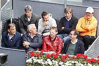 Toni Nadal (r) and Rafael Nadal's technical team during Madrid Open Tennis 2016 Semifinal match.May, 7, 2016.(ALTERPHOTOS/Acero) /NortePhoto.com