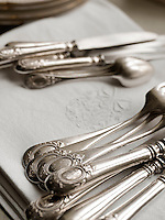 A close up of traditional silverware cutlery.