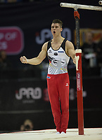 Lukas Dauser (GER) interacts with the crowd after his performance in the men's Parallel Bars competition.  FIG World Cup Series of Gymnastics. The O2 Arena, London,  Britain 8th April 2017.