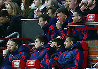 Manchester United manager Louis van Gaal looks thoughtful during the Barclays Premier League match between Manchester United and Swansea City played at Old Trafford, Manchester on January 2nd 2016