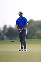 Jon Rahm (ESP) on the 15th green during the 2nd round of the DP World Tour Championship, Jumeirah Golf Estates, Dubai, United Arab Emirates. 16/11/2018<br /> Picture: Golffile | Fran Caffrey<br /> <br /> <br /> All photo usage must carry mandatory copyright credit (© Golffile | Fran Caffrey)