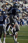 Nevada junior defence back Dameon Baber (5) reacts after making an interception against San Jose State in the first half of an NCAA college football game in Reno, Nev. Saturday, Nov. 11, 2017. Baber scored three touchdowns on the day – two via interception return and one via punt block return – and tied an NCAA record, becoming just the third player in history to score three touchdowns via runback in the same game. He totaled three interceptions in the game, a 59-14 victory over the Spartans. (AP Photo/Tom R. Smedes)