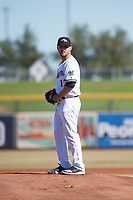 Peoria Javelinas starting pitcher Bubba Derby (12), of the Milwaukee Brewers organization, gets ready to deliver a pitch during an Arizona Fall League game against the Scottsdale Scorpions at Peoria Sports Complex on November 15, 2018 in Mesa, Arizona. Peoria defeated Scottsdale 2-1. (Zachary Lucy/Four Seam Images)