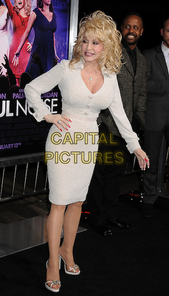 "Dolly Parton.""Joyful Noise"" Los Angeles Premiere held at Grauman's Chinese Theatre, Hollywood, California, USA..January 9th, 2012.full length white dress hand on hip.CAP/ROT/TM.©Tony Michaels/Roth Stock/Capital Pictures"