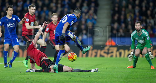 01.03.2016. King Power Stadium, Leicester, England. Barclays Premier League. Leicester versus West Bromwich Albion. Leicester City midfielder Riyad Mahrez takes a shot at the West Bromwich goal but the ball is deflected by West Bromwich Albion defender Jonas Olsson.