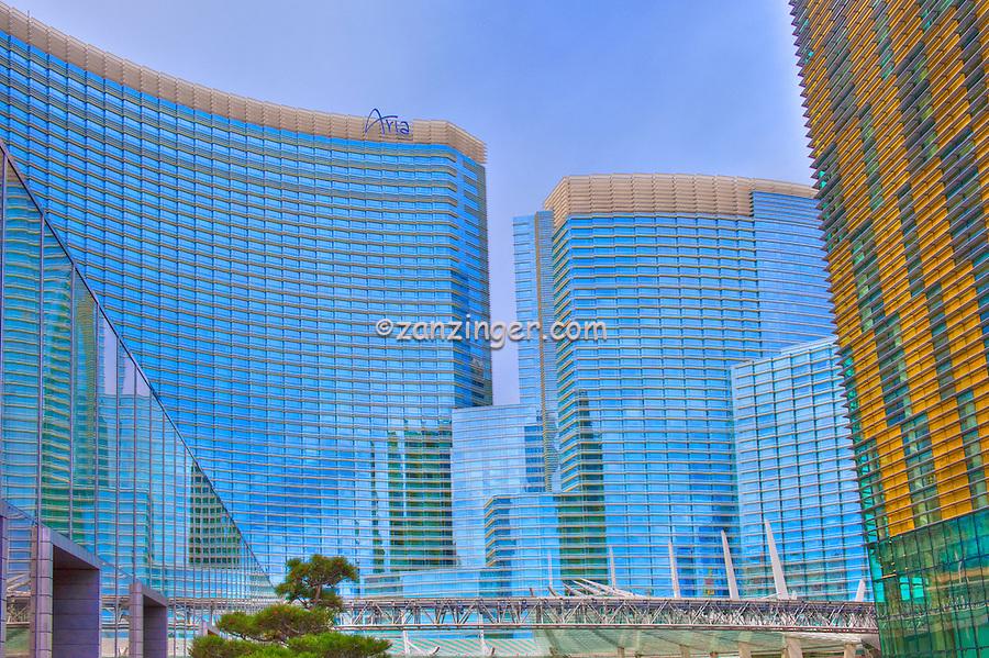 Las Vegas; Nevada;  CityCenter, Resort, ARIA, Vdara, Hotels & Casinos, Veer Tower,  Blue Elevated Train,  Hospitality, Strip; gambling; shopping, Sunrise, Blue Sky, Travel, Destination, View, Unique, Quality