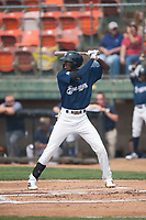 Helena Brewers designated hitter Je'Von Ward (8) at bat during a Pioneer League game against the Grand Junction Rockies at Kindrick Legion Field on August 19, 2018 in Helena, Montana. The Grand Junction Rockies defeated the Helena Brewers by a score of 6-1. (Zachary Lucy/Four Seam Images)