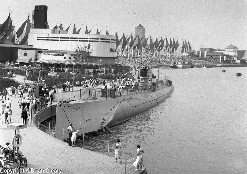 "Submarine on static display at the 1933 Chicago "" Century of Progress"" World's Fair.  (Photographer Unknown/www.bcpix.com)"