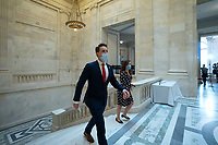 United States Senator Josh Hawley (Republican of Missouri) arrives to a U.S. Senate Committee on Homeland Security and Governmental Affairs meeting in the Senate Russell Office Building in Washington D.C., U.S., on Wednesday, May 20, 2020, to consider a motion to issue a subpoena to Blue Star Strategies.  Credit: Stefani Reynolds / CNP/AdMedia