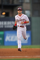 Center fielder Andrew Benintendi (2) of the Greenville Drive in a game against the Savannah Sand Gnats on Thursday, September 3, 2015, at Fluor Field at the West End in Greenville, South Carolina. (Tom Priddy/Four Seam Images)