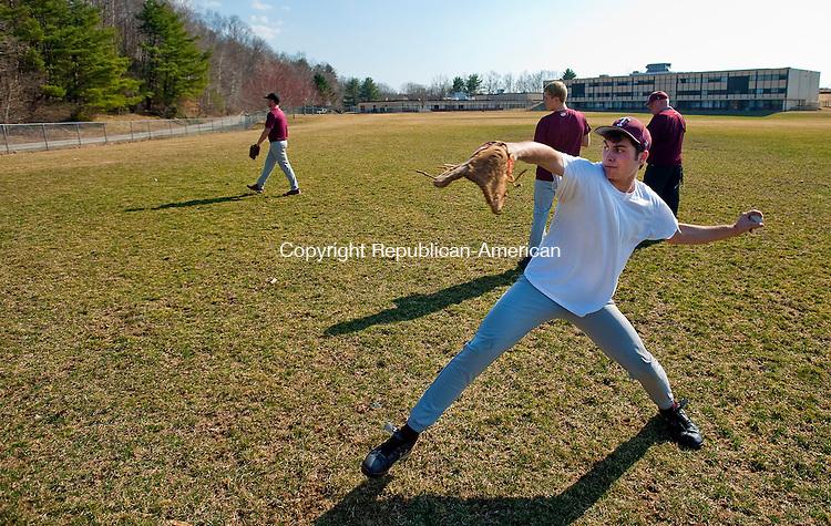 TORRINGTON. CT, 19 MARCH  2012-031912JS04-Torrington's Eric Rinaldi goes through pitching drills during the opening day of baseball practice Monday at Torrington High School. .Jim Shannon Republican-American