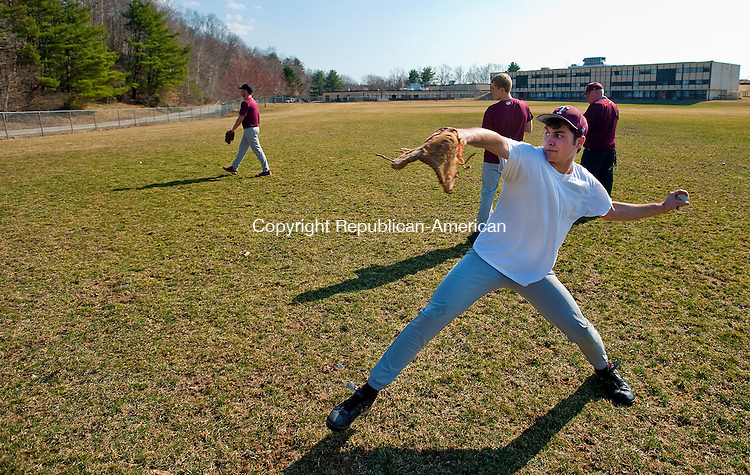 TORRINGTON. CT, 19 MARCH  2012-031912JS04-Torrington's Eric Rinaldi goes through pitching drills during the opening day of baseball practice Monday at Torrington High School. .Jim Shannon Republican-American