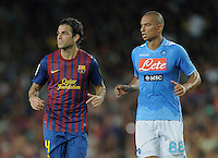 FUSSBALL  INTERNATIONAL   SAISON 2011/2012   22.08.2010 Gamper Cup FC Barcelona - SSC Neapel Cesc Fabregas (li, Barca) und Goekhan Inler (Napoli)