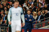 Gareth Southgate, Interim England Manager, (right) looks on during the FIFA World Cup qualifying match between England and Malta at Wembley Stadium, London, England on 8 October 2016. Photo by David Horn / PRiME Media Images.