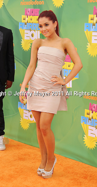 LOS ANGELES, CA - APRIL 02: Ariana Grande arrives at Nickelodeon's 24th Annual Kids' Choice Awards at Galen Center on April 2, 2011 in Los Angeles, California.