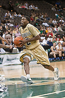 February 24, 2012:    Jacksonville Dolphins guard Russell Powell (2) drives the lane during Atlantic Sun Conference action between the Jacksonville Dolphins and the North Florida Ospreys at Veterans Memorial Arena in Jacksonville, Florida. North Florida defeated Jacksonville 70-64.