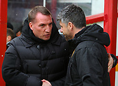 18th March 2018, Fir Park, Motherwell, Scotland; Scottish Premiership football, Motherwell versus Celtic;  Brendan Rodgers greets Motherwell manager Stephen Robinson before the kick-off