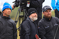 Niall, Bo and Shane Lowry (IRL) on the 8th tee during the preview of the the 148th Open Championship, Portrush golf club, Portrush, Antrim, Northern Ireland. 17/07/2019.<br /> Picture Thos Caffrey / Golffile.ie<br /> <br /> All photo usage must carry mandatory copyright credit (© Golffile | Thos Caffrey)