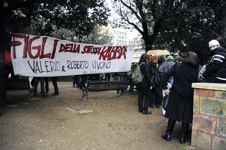 Roma, 28 Febbraio 2011.Piazza Don Bosco, Cinecittà.Anniversario dell'assassinio di Roberto Scialabba, ucciso il 28 Febbraio 1978 dai NAR (nuclei armati rivoluzionari) formazione di estrema destra.