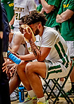 18 December 2019: University of Vermont Catamount Forward Anthony Lamb, a Senior from Rochester, NY, takes a break during a second half time out during a game against the UNC Greensboro Spartans at Patrick Gymnasium in Burlington, Vermont. The Spartans edged out the Catamounts 54-53 in the final minutes of play. Mandatory Credit: Ed Wolfstein Photo *** RAW (NEF) Image File Available ***