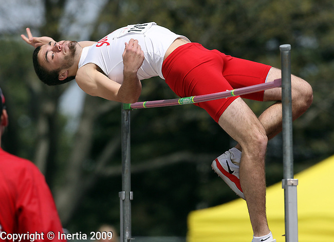 SIOUX FALLS, SD - MAY 2: Jeff Sebern of the University of South Dakota clears the bar during the Men's high jump competition Saturday at the 2009 Howard Wood Dakota Relays . (Photo by Dave Eggen/Inertia)