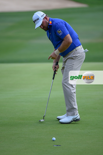 Graeme McDowell (NIR) watches his putt on 18 during day 3 of the Valero Texas Open, at the TPC San Antonio Oaks Course, San Antonio, Texas, USA. 4/6/2019.<br /> Picture: Golffile   Ken Murray<br /> <br /> <br /> All photo usage must carry mandatory copyright credit (© Golffile   Ken Murray)