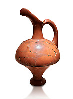 Hittite terra cotta pitcher - 16th century BC - Hattusa ( Bogazkoy ) - Museum of Anatolian Civilisations, Ankara, Turkey . Against white background