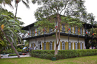 The Ernest Hemingway House, officially known as the Ernest Hemingway Home & Museum, was the residence of author Ernest Hemingway in Key West, Florida, United States. It is located at 907 Whitehead Street, near a prominent lighthouse close to the Southern coast of the island. On November 24, 1968, it was designated a U.S. National Historic Landmark.