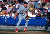 LOS ANGELES, CA - Mark McGwire of the St. Louis Cardinals in action during a game against the Los Angeles Dodgers at Dodger Stadium in Los Angeles, California in 2000. Photo by Brad Mangin