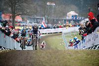 Pauline Ferrand-Prevot (FRA/Rabobank-Liv) &amp; Sanne Cant (BEL/BKCP-Powerplus) battling for the lead<br /> <br /> Elite Women's Race<br /> <br /> 2015 UCI World Championships Cyclocross <br /> Tabor, Czech Republic