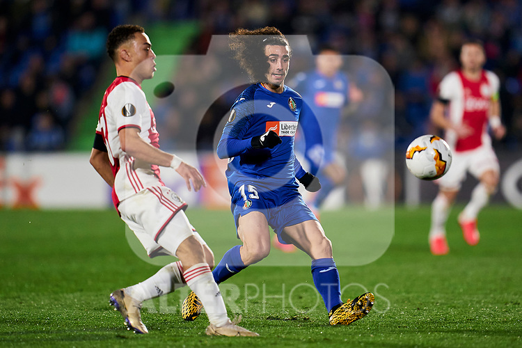 Marc Cucurella of Getafe FC and Sergino Dest of AFC Ajax during UEFA Europa League match between Getafe CF and AFC Ajax at Coliseum Alfonso Perez in Getafe, Spain. February 20, 2020. (ALTERPHOTOS/A. Perez Meca)