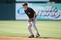 Delmarva Shorebirds second baseman Adam Hall (10) on defense against the Kannapolis Intimidators at Kannapolis Intimidators Stadium on May 19, 2019 in Kannapolis, North Carolina. The Shorebirds defeated the Intimidators 9-3. (Brian Westerholt/Four Seam Images)