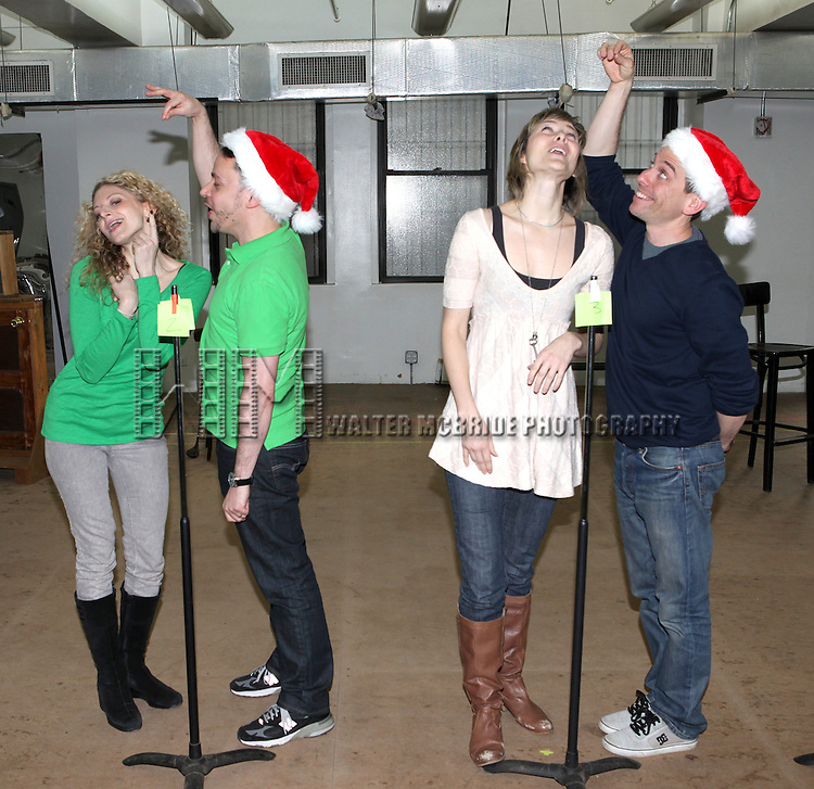 Lauren Molina, Mark Price, Jill Paice & Garth Kravits attending the Rehearsal for the Bucks County Playhouse production of 'It's a Wonderful Life - A Live Radio Play' at their rehearsal studios in New York City on December 5, 2012.