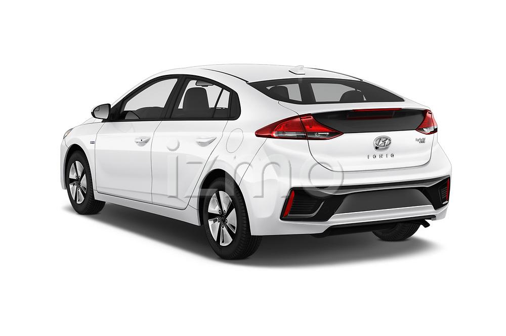 Car pictures of rear three quarter view of a 2018 Hyundai Ioniq Hybrid Blue 5 Door Hatchback angular rear