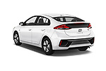 Car pictures of rear three quarter view of a 2018 Hyundai Ioniq Hybrid Blue 5 Door Hatchback angular rear