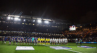 The Teams line up pre match during the UEFA Champions League Round of 16 2nd leg match between Chelsea and PSG at Stamford Bridge, London, England on 9 March 2016. Photo by Andy Rowland.