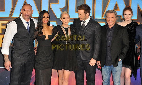 Dave Bautista, Zoe Saldana, Pom Klementieff, Chris Pratt, Kurt Russell and Karen Gillan at the &quot;Guardians of The Galaxy Vol. 2&quot; European gala film premiere, Hammersmith Apollo (Eventim Apollo), Queen Caroline Street, London, England, UK, on Monday 24 April 2017.<br /> CAP/CAN<br /> &copy;CAN/Capital Pictures