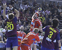 28.04.2012. Barcelona, Spain. Velux EHF Champions League (Quarter Final 2nd Leg). Picture show Mikkel Hansen in action during match between FC Barcelona Intersport against AG Copenhagen at Palau Blaugrana