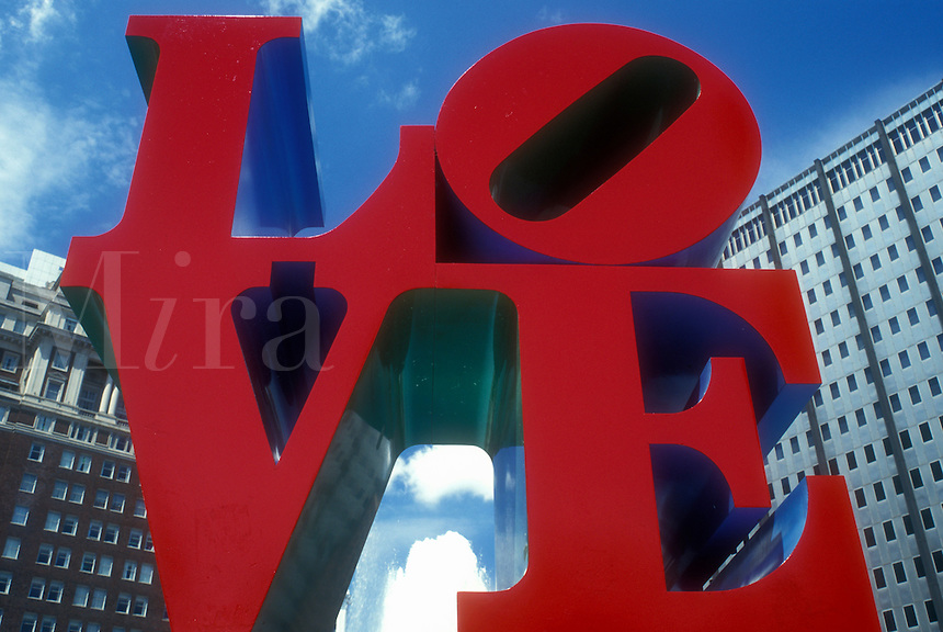 AJ1165, Philadelphia, love, Pennsylvania, The red LOVE Statue at Kennedy Plaza in downtown Philadelphia, Pennsylvania.