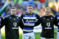 Chris Cook, Rhys Priestland and Tom Homer of Bath Rugby line-up prior to the match. Aviva Premiership match, between London Irish and Bath Rugby on November 7, 2015 at the Madejski Stadium in Reading, England. Photo by: Patrick Khachfe / Onside Images