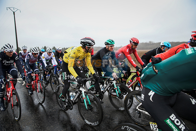 The peloton including race leader Yellow Jersey Maximilian Schachmann (GER) Bora-Hansgrohe during Stage 3 of the 78th edition of Paris-Nice 2020, running 212.5km from Chalette-sur-Loing to La Chatre, France. 10th March 2020.<br /> Picture: ASO/Fabien Boukla | Cyclefile<br /> All photos usage must carry mandatory copyright credit (© Cyclefile | ASO/Fabien Boukla)