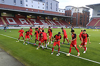 Orient players warm up during Leyton Orient vs Plymouth Argyle, Caraboa Cup Football at The Breyer Group Stadium on 15th September 2020